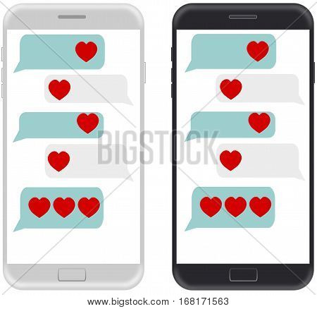 Smartphone black and white chatting sms app template bubbles with heart icon. Place your own text to the message clouds. Compose dialogues