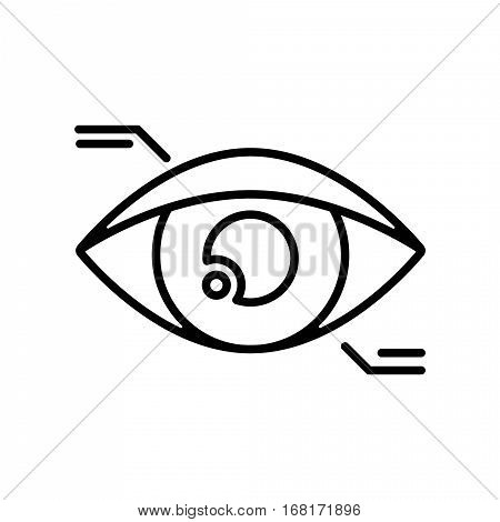 Symbol of Eyetap Augmentation Thin line Icon of Future Technology. Stroke Pictogram Graphic for Web Design. Quality Outline Concept. Premium Mono Linear Beautiful Plain Laconic Logo. Vector Symbol