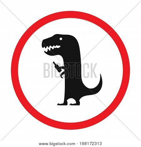 Vector funny road sign for bar or night club. Drunken dinosaur with bottle. Red attention signs. Flat design