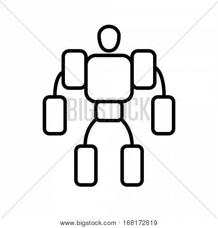 Symbol of Exoskeleton Thin line Icon of Future Technology. Stroke Pictogram Graphic for Web Design. Quality Outline Concept. Premium Mono Linear Beautiful Plain Laconic Logo. Vector Symbol