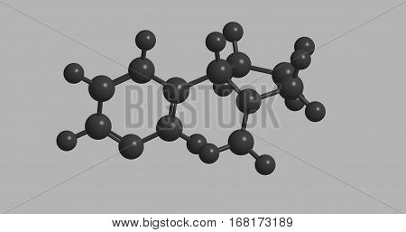 Molecular structure of nicotine in gray color. The compound is stimulant drug 3D rendering