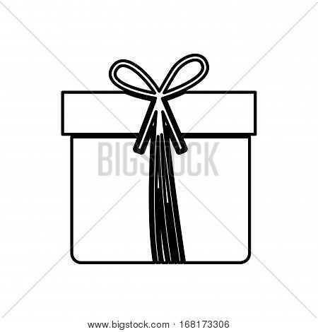 monochrome contour with giftbox with ribbon vector illustration