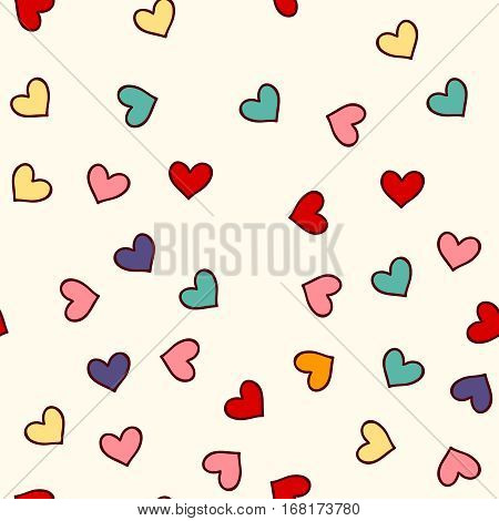 Cute seamless pattern with hand drawn varicoloured hearts. Abstract beige romantic background. Vector illustration.