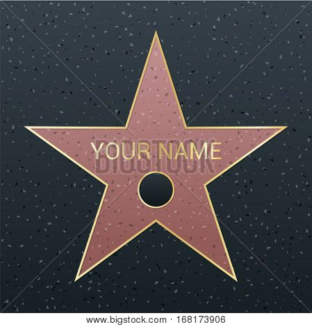 Walk of fame star illustration. Famous reward symbol. Achievement of actor celebrity. Hollywood vector success design. Fame symbol.