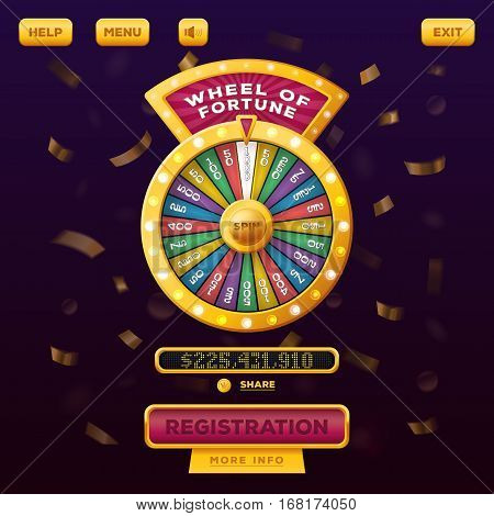 Wheel of fortune with buttons registration and menu, help for gamble casino user menu interface or UI web design. Betting and gambling, winner and risk game, american vegas and entertainment theme