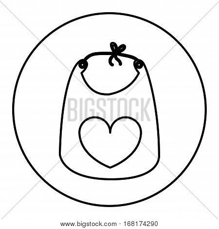 monochrome contour with baby bib in round frame vector illustration