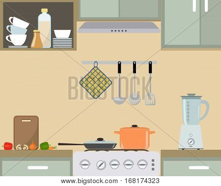 Fragment of an interior of kitchen in provence color. There is an orange pan and a frying pan on the stove, also blender and other objects in the picture. Vector flat illustration