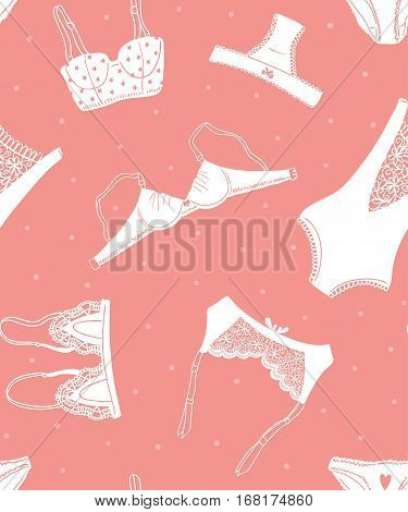 Seamless pattern of icons of women's underwear on a pink background with dots, hand-drawn design. Vector illustration.