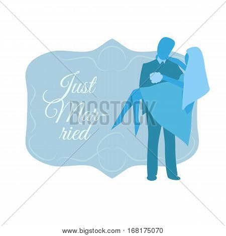 Just married man and women silhouette. Vector illustration on white background