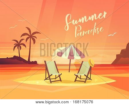 Deck chair and umbrella, chaise-longue with hat at sand beach. Sunset with sun and palms at horizon, ocean and sea coast panorama with mew and gull. Tropical travel and exotic tourism, seascape
