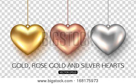 Set of rose, gold and silver heart on transparent background. Vector illustration.