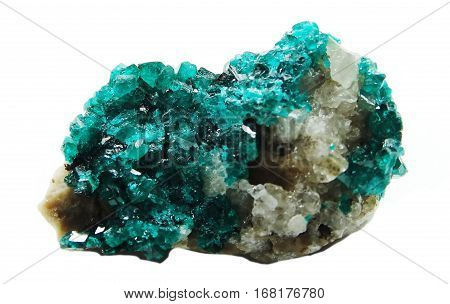 dioptase semigem geode crystals geological mineral isolated