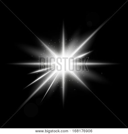Spark vector light effects. Silver star and star burst shine. Magic illumination. Glowing rays and flash. spotight blurred motion. .