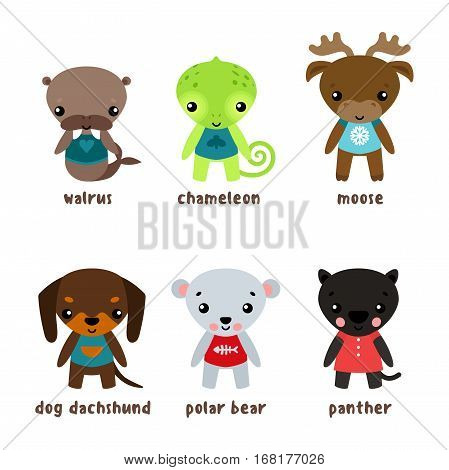 Cartoon moose or deer, walrus baby or forest morse, elk or reindeer, dog and white or polar bear, jungle panther and dachshund hound in clothing, chameleon lizard. Funny animals and child, kid mammal