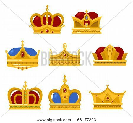 Set of different type crowns for king and queen, prince and princes. Pope tiara and monarch vintage headdress. Game award and jewelry sign, isolated medieval or victorian emperor diadem