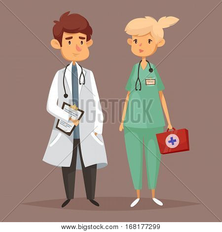 Doctor with stethoscope and nurse with first aid kit, physician in uniform. Medicine specialist and practitioner, cartoon intern or hospital professional worker, cardiologist at work. Clinic, hospice