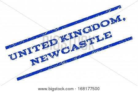 United Kingdom, Newcastle watermark stamp. Text tag between parallel lines with grunge design style. Rotated rubber seal stamp with dust texture. Vector blue ink imprint on a white background.