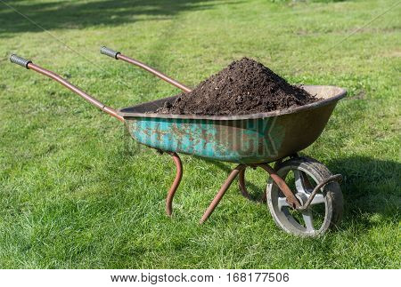 Wheelbarrow full of compost on green lawn