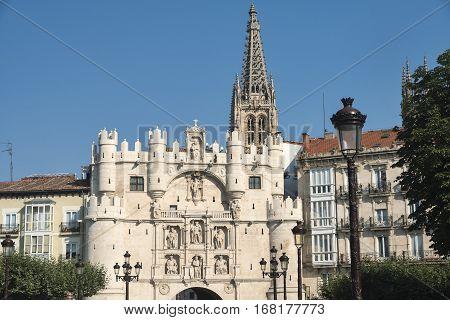 Burgos (Castilla y Leon Spain): exterior of historic buildings along the river