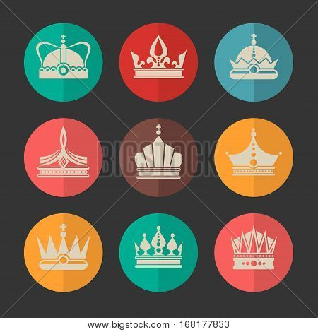 Vector royal crowns icons set. Symbol classic coronation to emperor illustration