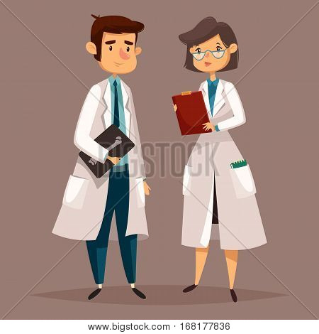 Radiologist man and radiographer woman. Doctor female or physician male with bone radiography, hospital worker, clinic medic at examination or consultation. X-ray and radiology, medicine and people