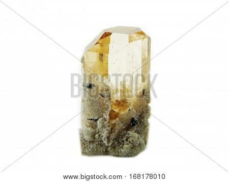 yellow topaz gem geode crystals geological mineral isolated
