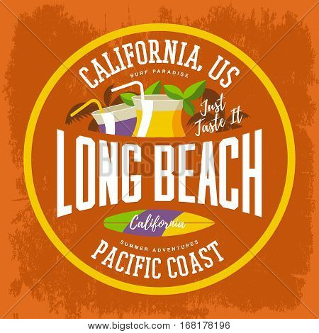 Surfboard and palms, cocktails with drinks and straw for Long Beach at California sign. Summer surfer sport advertising, west t-shirt print and summer clothing design branding. Vacation, travel theme