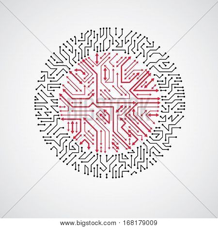 Futuristic cybernetic scheme with multidirectional arrows vector motherboard red and black illustration. Circular element with circuit board texture.