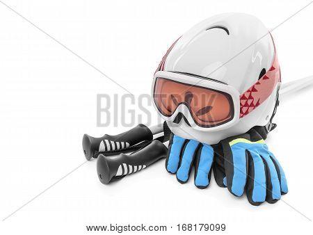 Ski boots gloves helmet isolated on white background. Still life.