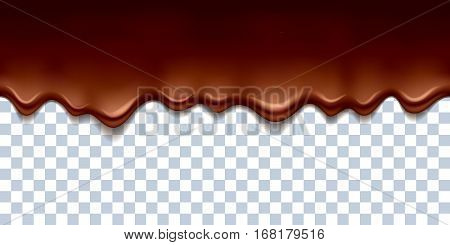Melted flowing chocolate drips with transparency - seamless horizontal border vector illustration.