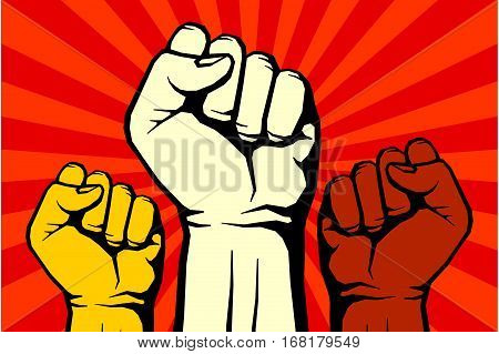 Protest, rebel vector revolution art poster for freedom, illustration of banner with human hand