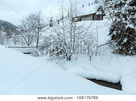 Winter Ukrainian Carpathian Mountains Landscape.