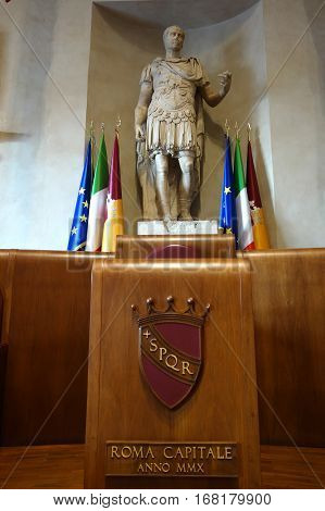 ROME ITALY - JANUARY 29 2017: detail of the Aula Giulio Cesare in the Palazzo Senatorio the seat of Rome Council