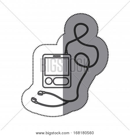 sticker silhouette with tech portable music device with headphones vector illustration