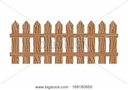 Rural wooden fence vector illustration white. Wood fence isolated on background