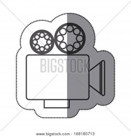 sticker silhouette with retro movie projector vector illustration