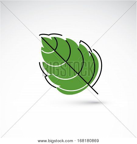 Hand-drawn illustration of simple hazel tree leaf isolated. Green foliage spring herb. Vector botanical symbol can be used as design element in ecology conservation theme.