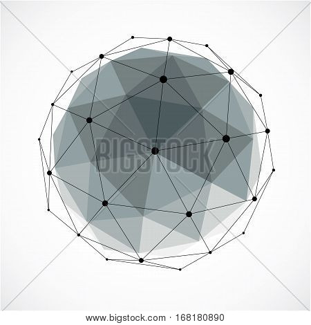 Abstract 3D Faceted Figure With Connected Black Lines And Dots. Gray Vector Low Poly Design Element,