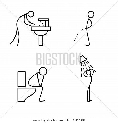 Cartoon icon of sketch stick figure doing life routine in bathroom vector