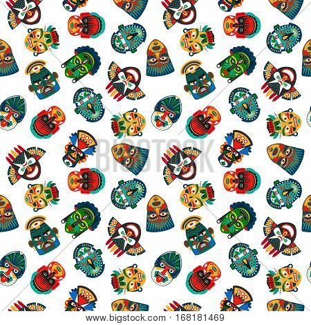 Tribal colorful masks seamless pattern with white background. Vector illustration