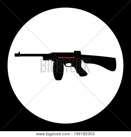 Red And Black Simple Submachine Gun Icon Eps10