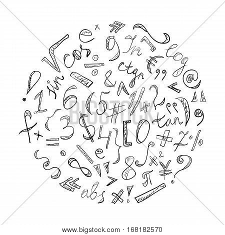 Black Hand Drawn Doodle Symbols and Numbers. Scribble Signs Arranged in a Circle. Vector Illustration.