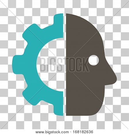 Cyborg icon. Vector illustration style is flat iconic bicolor symbol grey and cyan colors transparent background. Designed for web and software interfaces.
