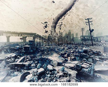 Ruins of a city and tornado. Disaster landscape.3d illustration concept