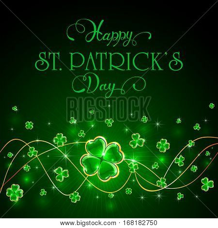 Green Patricks Day background with glittering clover and holiday lettering Happy St. Patrick's Day, illustration.