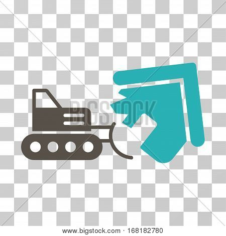 Demolition icon. Vector illustration style is flat iconic bicolor symbol grey and cyan colors transparent background. Designed for web and software interfaces.