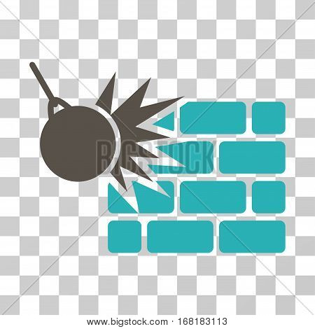 Destruction icon. Vector illustration style is flat iconic bicolor symbol grey and cyan colors transparent background. Designed for web and software interfaces.