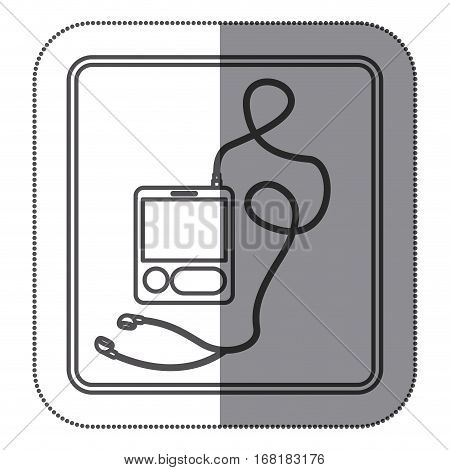sticker silhouette square button with tech portable music device with headphones vector illustration