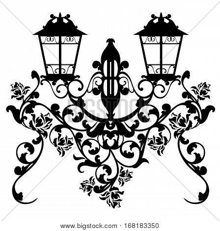 antique streetlamp among garden rose flowers - black and white vector design