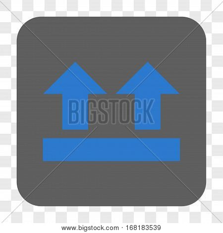 Bring Up interface toolbar button. Vector icon style is a flat symbol inside a rounded square button blue and gray colors chess transparent background.